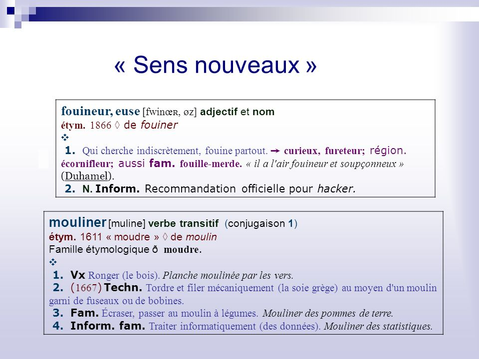 « Sens nouveaux » fouineur, euse [fwinœʀ, øz] adjectif et nom